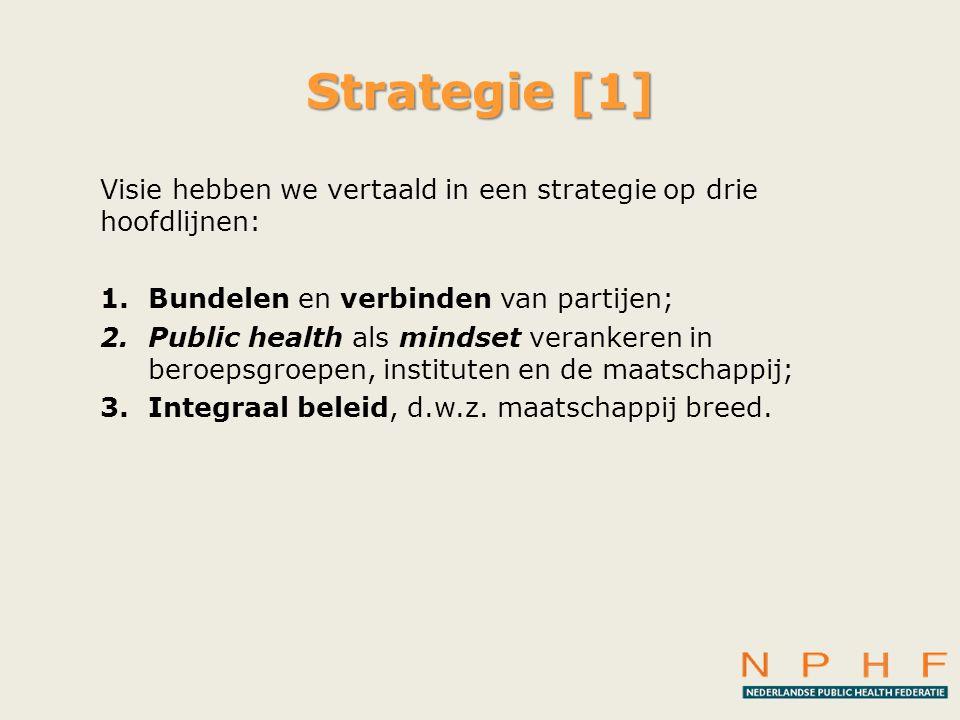 Strategie [1] Visie hebben we vertaald in een strategie op drie hoofdlijnen: Bundelen en verbinden van partijen;